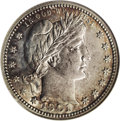 Barber Quarters: , 1901-S 25C AU55 NGC. On the basis of eye appeal alone this is adesirable coin, perhaps as lustrous as an AU55 piece is eve...