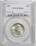 Washington Quarters: , 1932 25C MS66 PCGS. Pearl-gray and honey colors adorn this lustrousGem. Well struck and impressively undisturbed. Although...