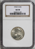 Washington Quarters: , 1932-D 25C AU58 NGC. This kind of quality would nestle snugly intoa Mint State set without apology--and before certificati...
