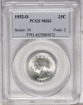 Washington Quarters: , 1932-D 25C MS62 PCGS. From the first year of issue comes thissharply struck example with great luster. Wisps of pale green...