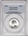 Washington Quarters: , 1934 25C Light Motto MS66 PCGS. A nicely struck Premium Gem exampleof this popular variety. Brilliant and quite appealing....