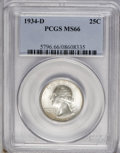 Washington Quarters: , 1934-D 25C Medium Motto MS66 PCGS. A lustrous coin with greatdefinition on the devices. The well-preserved fields have pal...