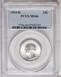 Washington Quarters: , 1934-D 25C Medium Motto MS66 PCGS. Immaculate in the fields withshimmering cartwheel luster. Approaching the Superb Gem le...