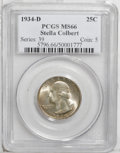 Washington Quarters: , 1934-D 25C Medium Motto MS66 PCGS. Ex: Stella Colbert Collection.Speckled peach patina is prominent on the obverse, while ...