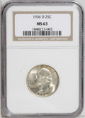 Washington Quarters: , 1936-D 25C MS63 NGC. The 1936-D is an issue that is increasinglybeing afforded full key-date status, right alongside the 1...