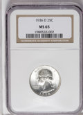 Washington Quarters: , 1936-D 25C MS65 NGC. A bold and frosty example of this earlyWashington quarter. The fields are pleasingly free of any majo...