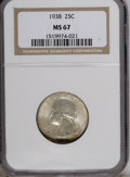 Washington Quarters: , 1938 25C MS67 NGC. A lustrous and solidly struck piece with hazyolive toning and a streak of cherry-red near the date. NGC...