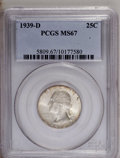 Washington Quarters: , 1939-D 25C MS67 PCGS. The green-gray-toned centers are surroundedby russet and sunset-red peripheral toning. The entire co...