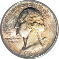 Washington Quarters: , 1960 25C MS67 PCGS. Orange-gold, ice-blue, and plum-red patinationendow this spectacularly lustrous and well struck Superb...