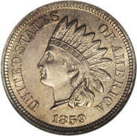 1859 P1C Indian Cent, Judd-228, Pollock-272, R.1, MS65 NGC. Dies of the regular issue Indian cent starting in 1860, incl...