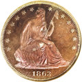Patterns: , 1863 50C Half Dollar, Judd-343, Pollock-415, R.7, PR65 Red and Brown NGC. Identical in design to the proof 1866 With Motto ...