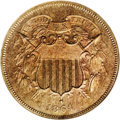 Patterns: , 1864 2C Two Cents, Judd-371, Pollock-440, Low R.6, PR64 NGC. Theregular dies for the Large Motto two cent piece, struck in...