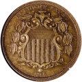 Patterns: , 1866 5C Shield Five Cents, Judd-508, Pollock-592, High R.6, PR64Brown NGC. Struck from a regular obverse die of the 1866 S...