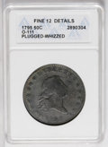 Early Half Dollars: , 1795 50C 3 Leaves--Plugged, Whizzed--ANACS. Fine 12 Details. O-111,R.4. Moderately worn with surfaces that show evidence o...