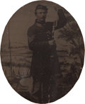 Photography:Tintypes, Unusual Sixth Plate Tintype Of A Federal Infantry Corporal In TheAct Of Loading His Musket....