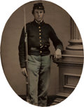 Photography:Ambrotypes, Exquisite Tinted Sixth Plate Ambrotype of Fully Armed New York State Infantryman....