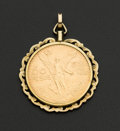 "Estate Jewelry:Coin Jewelry and Suites, Mexican 50 Pesos ""Centenario"" Gold Coin Pendant With 14k GoldBezel. ..."