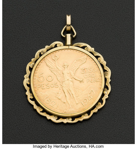 Mexican 50 pesos centenario gold coin pendant with 14k lot estate jewelrycoin jewelry and suites mexican 50 pesos centenario gold coin aloadofball Choice Image