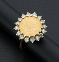 Estate Jewelry:Coin Jewelry and Suites, 2 Pesos Mexican Gold Coin & Diamond Ring. ...