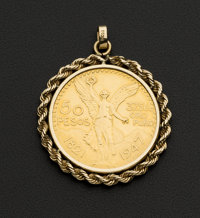 Mexican 50 Pesos Gold Coin Pendant 14k Gold Rope Bezel
