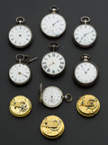 Timepieces:Pocket (pre 1900) , Six Verge Fusee Three Lever Fusee & One Bar Movement ForRestoration. ... (Total: 10 Items)