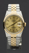 Timepieces:Wristwatch, Rolex Ref. 162033 Gent's Two Tone Oyster Perpetual Datejust, Boxes& Papers. ...