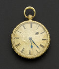 Timepieces:Pocket (pre 1900) , Swiss Verge Fusee Gold Repousse Case. ...