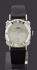 Timepieces:Wristwatch, Longines Vintage Gent's 14k White Gold & Diamond Watch, Box& Papers. ...