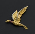 Estate Jewelry:Brooches - Pins, Ruby & Diamond Gold Duck Brooch. ...