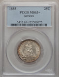 Seated Quarters, 1855 25C Arrows MS63+ PCGS....