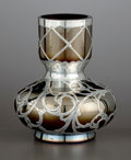 Silver Holloware, American:Vases, AN AUSTRIAN GLASS BUD VASE WITH SILVER OVERLAY. Glass attributed toGlasfabrik Johann Loetz Witwe, Klostermuehle, Austria; s...