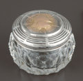 Silver Holloware, American:Vanity, A SHIEBLER CUT GLASS JAR WITH SILVER, SILVER GILT AND GOLDMEDALLION LID . George W. Shiebler & Co., New York, New York,cir...