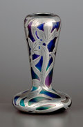 Silver Holloware, American:Vases, AN AMERICAN GLASS VASE WITH SILVER OVERLAY . Glass maker unknown,silver attributed to Gorham Manufacturing Co., Providence,...