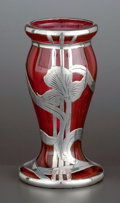 Silver Holloware, American:Vases, AN AMERICAN GLASS VASE WITH ALVIN SILVER OVERLAY . Glass makerunknown; silver by Alvin Corporation, Providence, Rhode Islan...