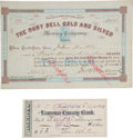 Autographs:Celebrities, Seth Bullock: Mining Company Stock Certificate Signed by theLegendary Western Lawman. ... (Total: 2 Items)