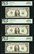 Error Notes:Printed Tears, Fr. 1909-K $1 1977 Federal Reserve Notes. Three ConsecutiveExamples. PCGS Very Choice New 64PPQ-Gem New 66PPQ.. ... (Total: 3notes)