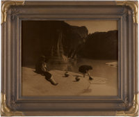 """Edward S. Curtis, Photographer: """"At the Old Well of Acoma"""" Vintage Goldtone in Original Frame"""