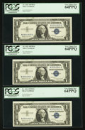 Error Notes:Ink Smears, Fr. 1621 $1 1957B Silver Certificates. Nine Consecutive Examples.PCGS Choice New 63PPQ-Very Choice New 64PPQ.. ... (Total: 9 notes)