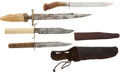 Edged Weapons:Knives, Lot of Four Large 19th Century Bowie Knives.... (Total: 4 Items)