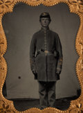 Photography:Tintypes, Impressive And Unusual Quarter Plate Tintype Of Armed FederalInfantryman....