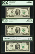Error Notes:Error Group Lots, Fr. 1935-A $2 1976 Federal Reserve Notes. Two Examples. PMG ChoiceAbout Unc 58 EPQ-PCGS Choice New 63PPQ; Fr. 1935-E $2 1976 ...(Total: 3 notes)