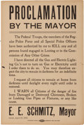 Miscellaneous:Broadside, San Francisco Earthquake: A Great Broadside Dated the Day of theQuake, April 18, 1906, Announcing Orders to KILL Looters!...