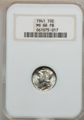 Mercury Dimes, 1941 10C Set Of PDS Mercury Dimes MS66 Full Bands NGC.... (Total: 3coins)