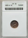 Seated Half Dimes: , 1855-O H10C Arrows VF20 ANACS. NGC Census: (0/86). PCGS Population(0/58). Mintage: 600,000. Numismedia Wsl. Price for prob...