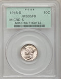 Mercury Dimes: , 1945-S 10C Micro S MS65 Full Bands PCGS. PCGS Population (156/112).NGC Census: (25/26). Mintage: 41,920,000. Numismedia Ws...