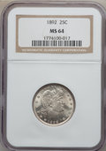 Barber Quarters: , 1892 25C MS64 NGC. NGC Census: (348/267). PCGS Population(319/239). Mintage: 8,237,245. Numismedia Wsl. Price for problem...