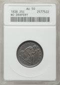 Seated Quarters: , 1838 25C No Drapery AU50 ANACS. NGC Census: (5/118). PCGSPopulation (14/105). Mintage: 466,000. Numismedia Wsl. Price for...