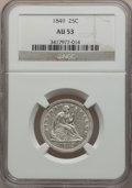Seated Quarters: , 1849 25C AU53 NGC. NGC Census: (4/53). PCGS Population (3/40).Mintage: 340,000. Numismedia Wsl. Price for problem free NGC...