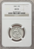 Seated Quarters: , 1845 25C AU53 NGC. NGC Census: (5/81). PCGS Population (10/61).Mintage: 922,000. Numismedia Wsl. Price for problem free NG...