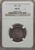 Seated Quarters: , 1861 25C MS62 NGC. NGC Census: (61/222). PCGS Population (75/236).Mintage: 4,854,600. Numismedia Wsl. Price for problem fr...